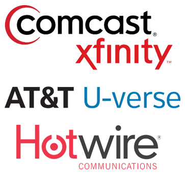 Cable Company Logos - Comcast Xfinity AT&T Hotwire
